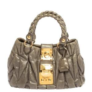 Miu Miu Grey Matelassé Leather Coffer Two Way Satchel