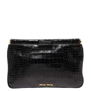 Miu Miu Black Croc Embossed Patent Leather Frame Clutch