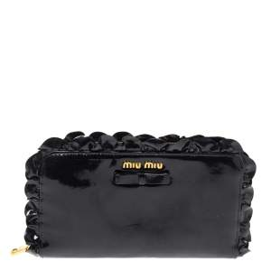 Miu Miu Black Patent Leather Ruffle Zip Around Wallet