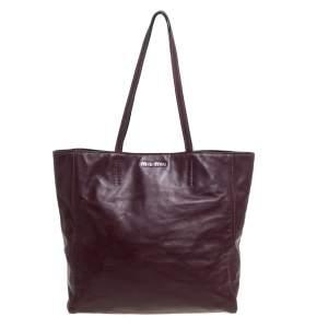 Miu Miu Burgundy Leather Shopper Tote