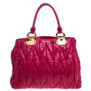 Miu Miu Pink Matelasse Patent Leather Tote
