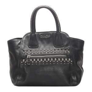 Miu Miu Black Studded Leather Top Handle Bag