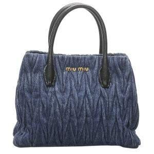 Miu Miu Blue Matelasse Denim Tote Bag