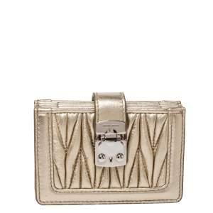 Miu Miu Metallic Gold Matelasse Leather Card Holder