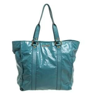 Miu Miu Light Blue Patent Leather Open Tote