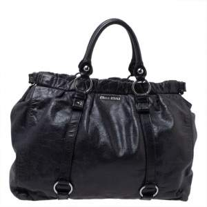 Miu Miu Black Vitello Leather Gathered Tote