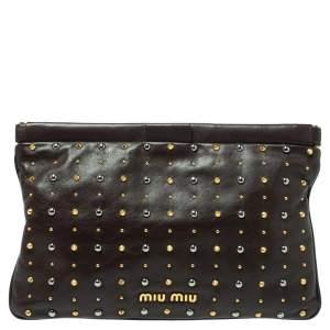Miu Miu Dark Brown Leather Studded Clutch