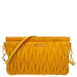 Miu Miu Yellow Metalasse Leather Crossbody Bag