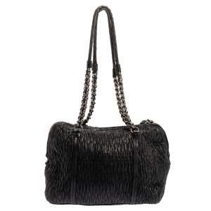 Miu Miu Black Nappa Leather Cloquet Shoulder Bag