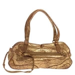 Miu Miu Gold Textured Leather Pocket Zip Shoulder Bag