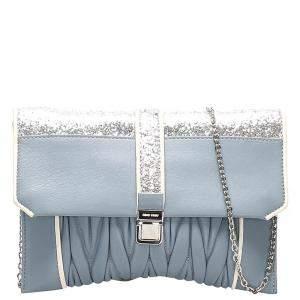 Miu Miu Blue Matelasse Leather Crossbody Bag