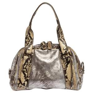 Miu Miu Silver/Cream Leather and Python Zip Satchel
