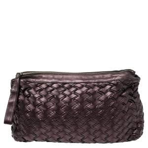 Miu Miu Plum Woven Soft Leather Zip Clutch