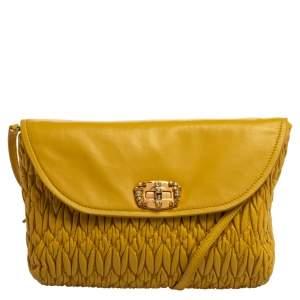 Miu Miu Yellow Matelasse Leather Pochette Bag