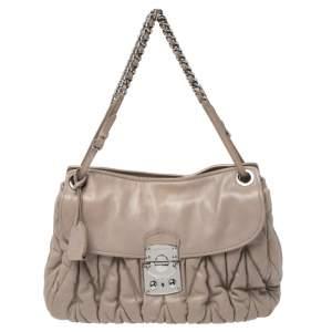 Miu Miu Beige Metalasse Leather Shoulder Bag