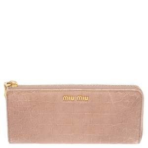 Miu Miu Beige Croc Embossed Patent Leather Zip Around Wallet