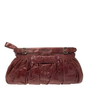 Miu Miu Burgundy Matelasse Leather Clutch