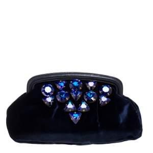 Miu Miu Navy Blue Velvet Crystal Embellished Clutch