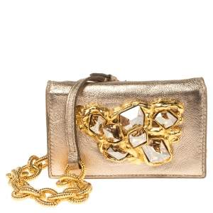 Miu Miu Metallic Gold Leather Crystal Embellishment Chain Card Holder