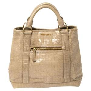 Miu Miu Pale Green Croc Embossed Patent Leather Front Zip Tote