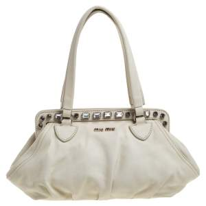 Miu Miu Off White Leather Crystal Embellished Satchel
