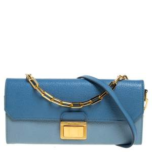 Miu Miu Bi Color Madras Leather Flap Wallet on Chain