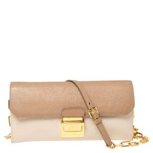 Miu Miu Cream/Beige Leather Wallet On Chain