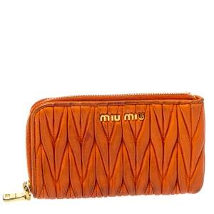 Miu Miu Orange Matelasse Leather Zip Pouch