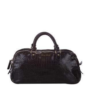 Miu Miu Brown Croc Embossed Leather Triple Zip Satchel Bag