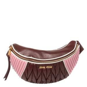 Miu Miu Burgundy/Pink Matelassé Leather Rider Belt Bag