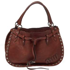 Miu Miu Brown Leather Studded Satchel