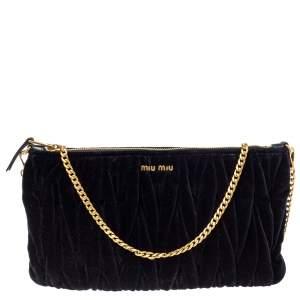 Miu Miu Black Velvet Matelasse Chain Clutch