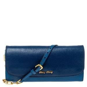 Miu Miu Two Tone Blue Leather Logo Flap Wallet on Chain