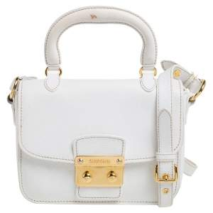 Miu Miu White Leather Madras Top Handle Bag