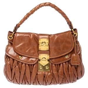 Miu Miu Brown Matelasse Leather Coffer Bag