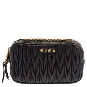 Miu Miu Black Matelasse Leather Double Zip Camera Bag