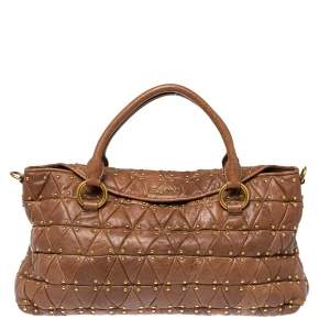 Miu Miu Brown Quilted Leather Studded Flap Tote