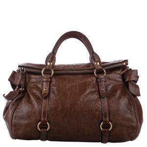 Miu Miu Brown Leather Vitello Lux Bow Satchel Bag