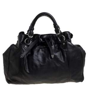 Miu Miu Black Soft Leather Drawstring Bag