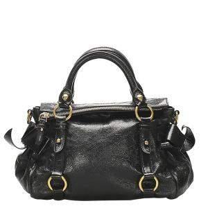 Miu Miu Black Leather Vitello Lux Bow Satchel Bag