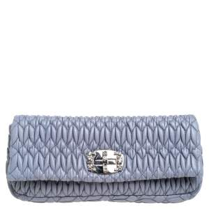 Miu Miu Blue Matelassé Leather Crystal Embellished Clutch