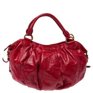 Miu Miu Red Leather Gathered Hobo