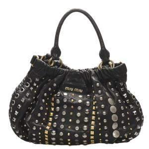 Miu Miu Black Studded Leather Satchel Bag