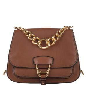 Miu Miu Brown Leather Madras Dahlia Crossbody Bag
