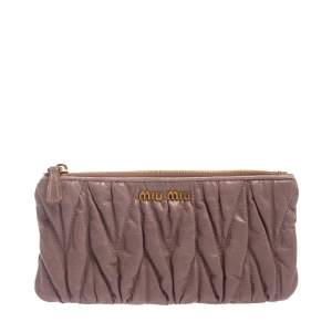 Miu Miu Pink Matelasse Leather Continental Zip Wallet