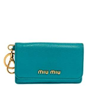 Miu Miu Turquoise Leather Madras Card Case
