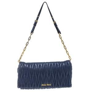 Miu Miu Blue Matelassé Leather Flap Shoulder Bag