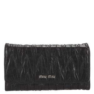 Miu Miu Black Matelasse Leather Wallet