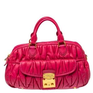 Miu Miu Fuchsia Matelasse Quilted Leather Satchel