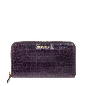 Miu Miu Purple Croc Embossed Leather Zip Around Wallet